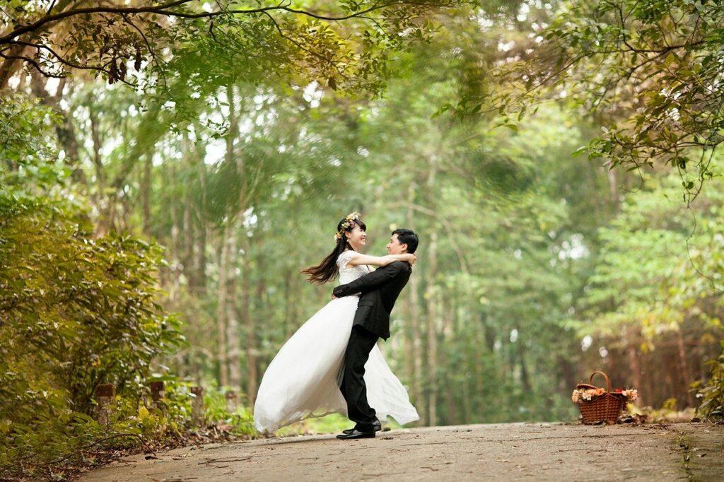 couple, wedding, park